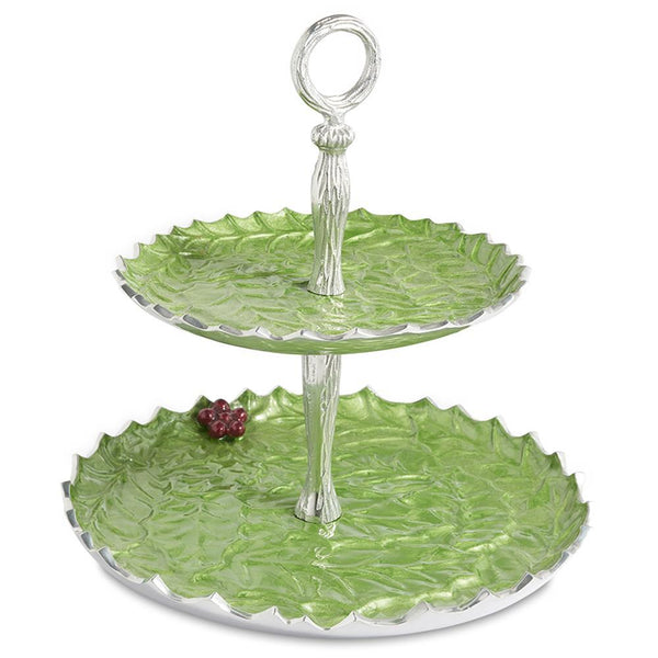 "Julia Knight Holly Sprig 11.5"" Two-Tiered Server in Mojito"