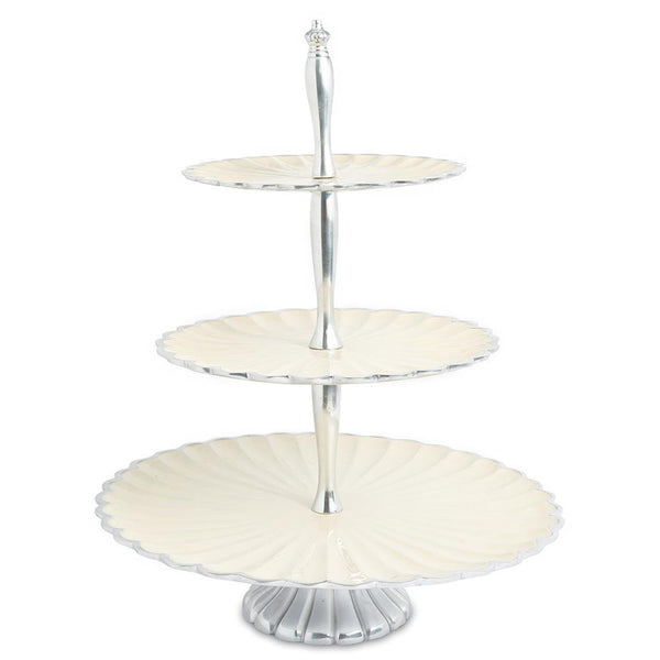"Julia Knight Peony 16"" Three-Tiered Server in Snow"