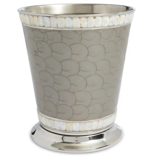 "Julia Knight Classic 9.75"" Waste Basket in Platinum"