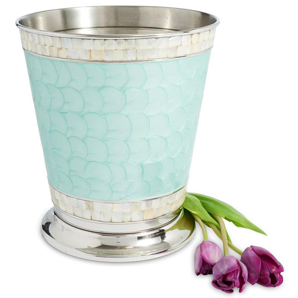 "Classic 9.75"" Waste Basket in Aqua"
