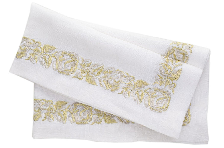Nomi K Gold Floral Thick Embroidered Border Napkin - Set of 4