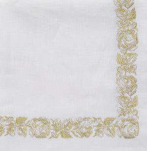 Nomi K Nomi K Gold Floral Thick Embroidered Border Napkin - Set of 4 GLDRSBRD