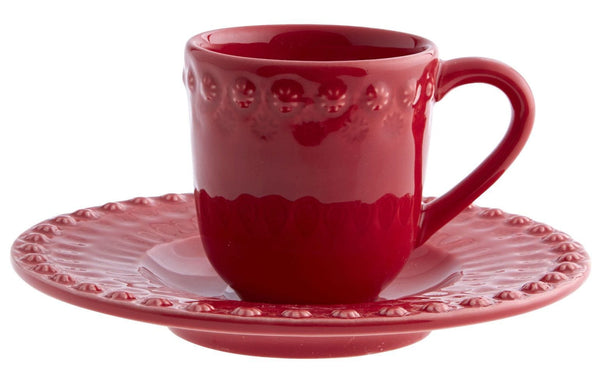 Bordallo Pinheiro Fantasy Red Espresso Cup and Saucer