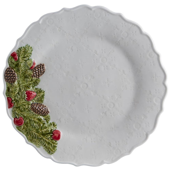 "Bordallo Pinheiro Christmas Garland 11.5"" White Dinner Plate"