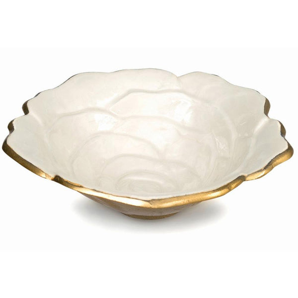 "Rose 8"" Bowl in Gold Snow"