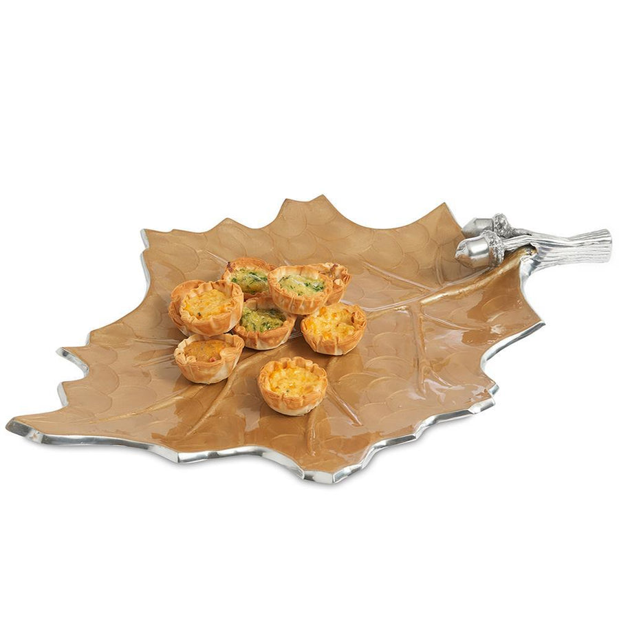"Julia Knight Oak Leaf 18"" Platter in Toffee"