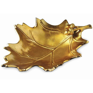 "Julia Knight Oak Leaf 15"" Bowl in Gold"