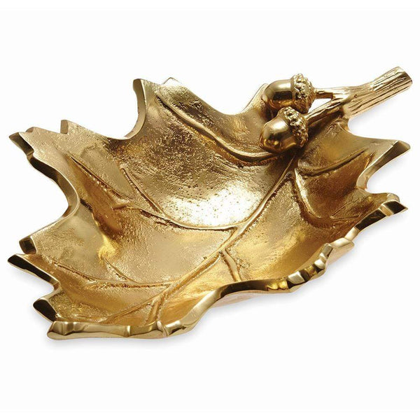 "Julia Knight Oak Leaf 13"" Bowl in Gold"
