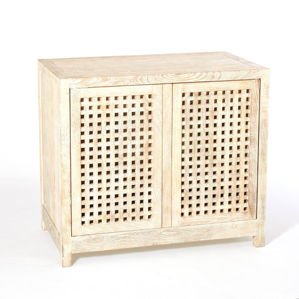 Global Views Driftwood Lattice Two Door Cabinet