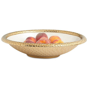 "Julia Knight Florentine 15"" Oval Bowl in Gold Snow"