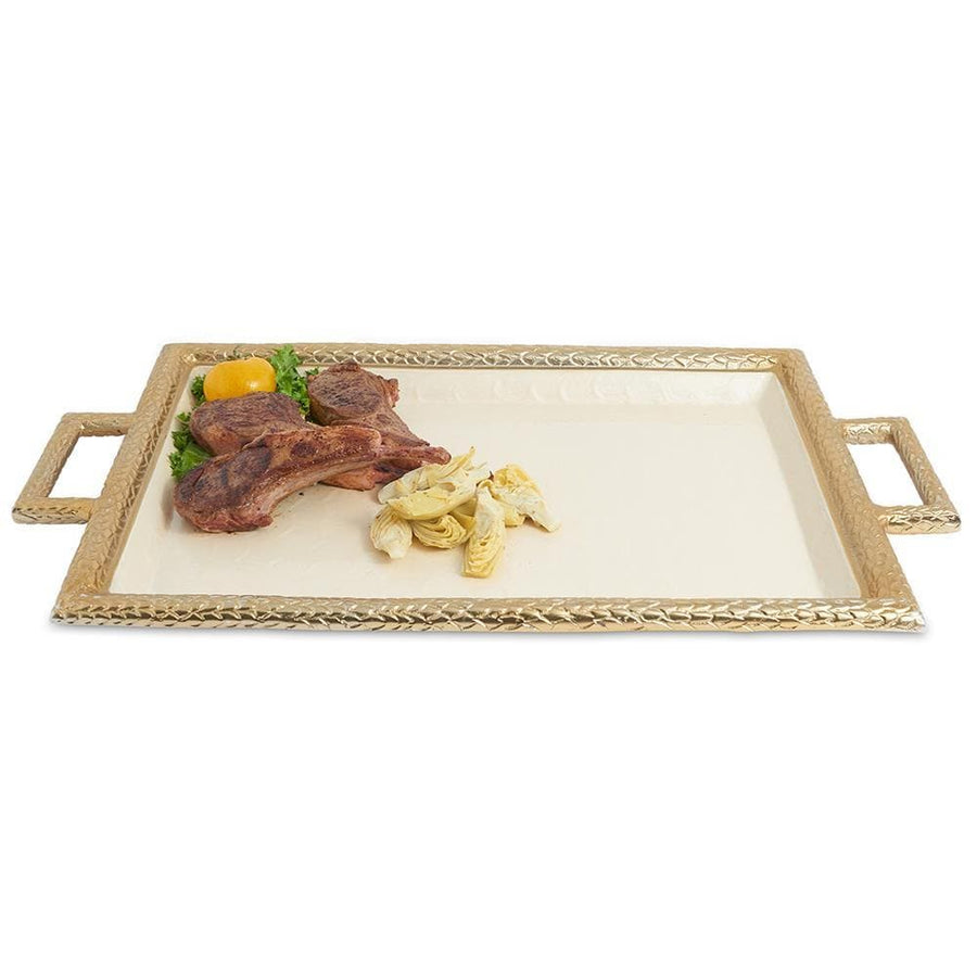 "Julia Knight Florentine 23"" Beveled Tray in Gold Snow"