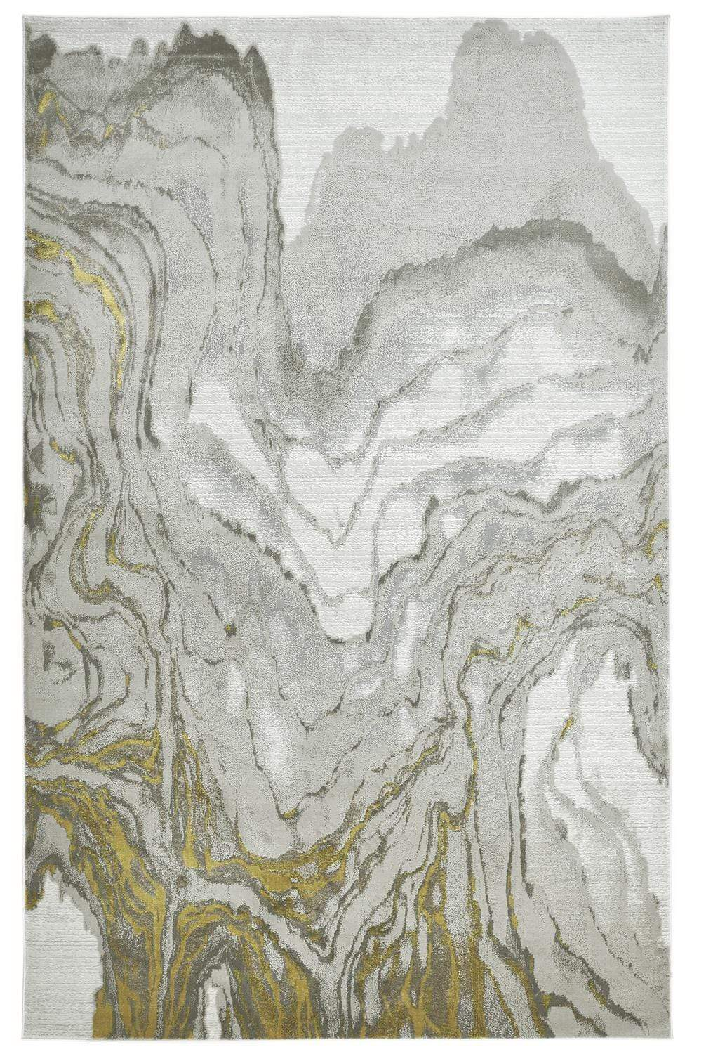Feizy Waldor Absrtract Marble Print Rug - Available in 7 Sizes - Goldenrod & Ivory - 1'-8