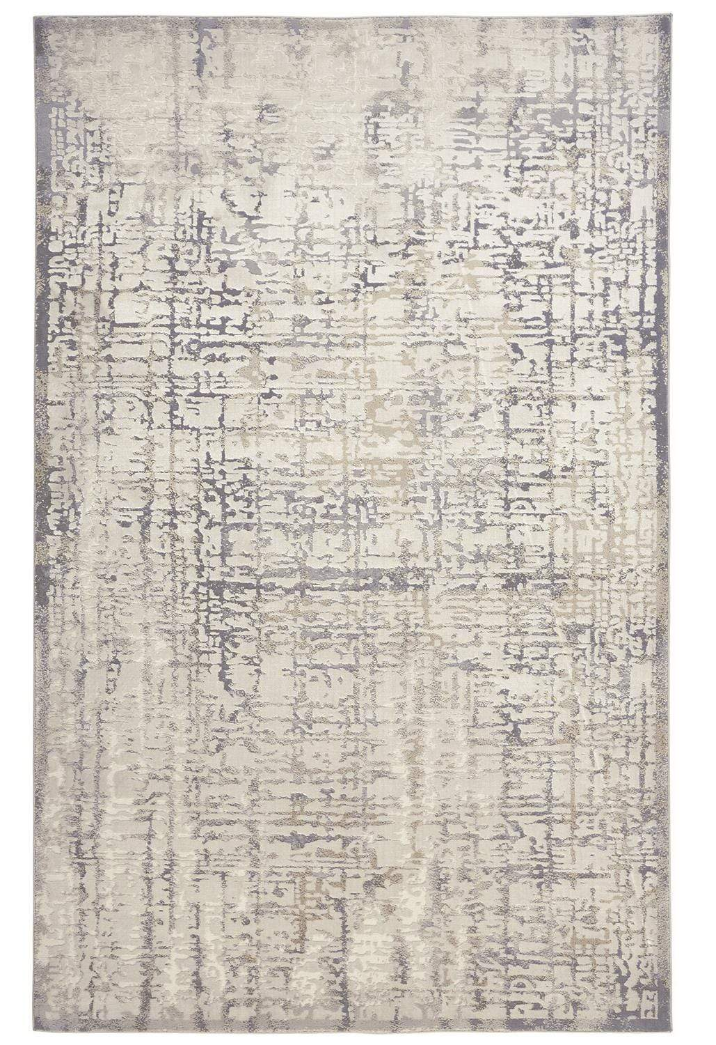 Feizy Waldor Distressed Absrtract Rug - Available in 7 Sizes - Wheat Beige & Silver Gray - 1'-8