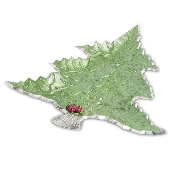 "Julia Knight Holly Sprig 16"" Tree Platter in Mojito"
