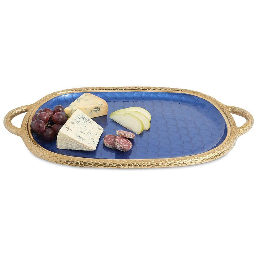 "Julia Knight Florentine 22.5"" Handled Tray in Gold Sapphire"