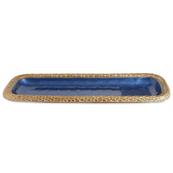 "Julia Knight Florentine 16"" Rectangular Tray in Gold Sapphire"