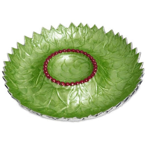 "Julia Knight Holly Sprig 13.5"" Chip and Dip Bowl in Mojito"