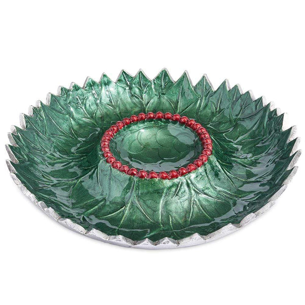 "Julia Knight Holly Sprig 13.5"" Chip and Dip Bowl in Emerald"