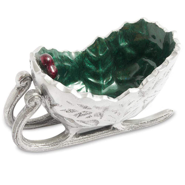 "Julia Knight Holly Sprig 5.5"" Petite Sleigh Bowl in Emerald"