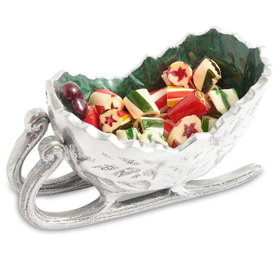 "Holly Sprig 5.5"" Petite Sleigh Bowl in Emerald"