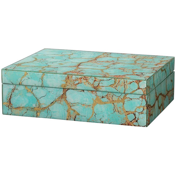 Jamie Young Rectangle Box in Turquoise Pebble