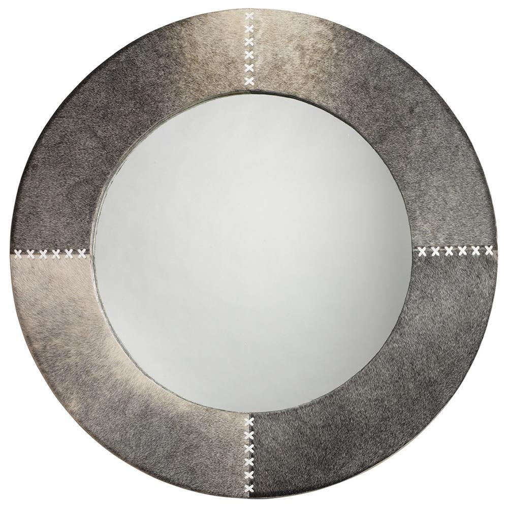 Image of Jamie Young Round Cross Stitch Mirror in Gray Hide