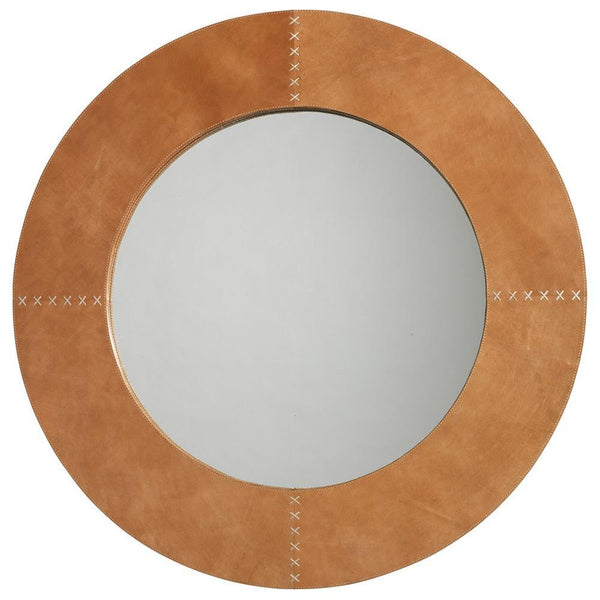 Jamie Young Round Cross Stitch Mirror in Buff Leather