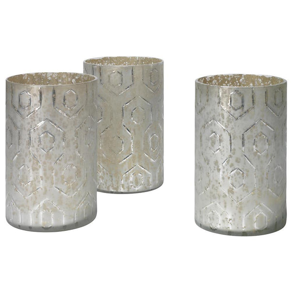 Jamie Young Deco Hurricanes in Etched Mercury Glass - Set Of 3
