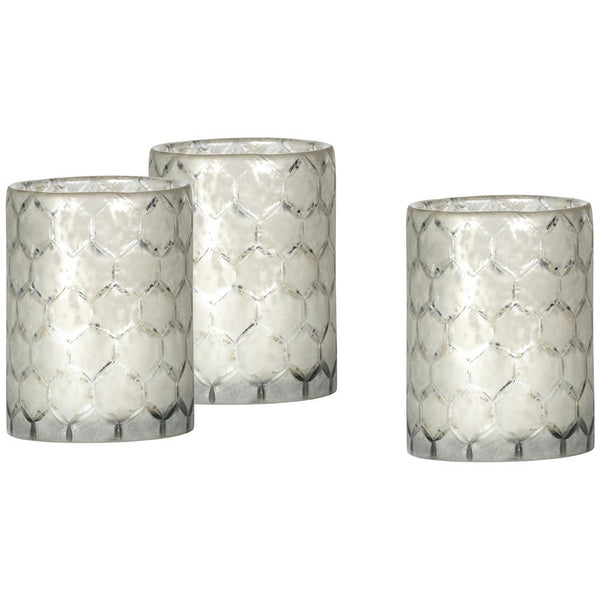 Jamie Young Small Glass Hurricanes in Lattice Glass - Set Of 3