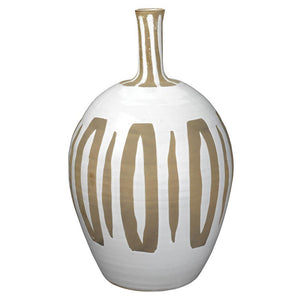 Jamie Young Kindred Vase in Beige and White Ceramic