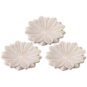 Jamie Young Medium Lotus Plates in White Marble - Set Of 3