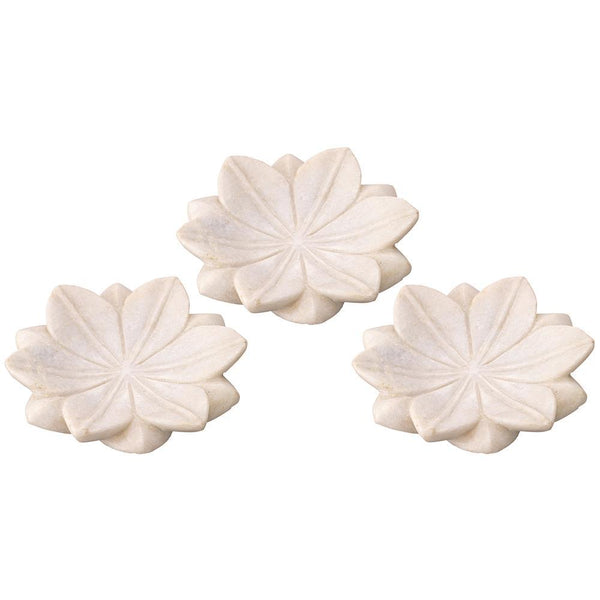 Jamie Young Small Lotus Plates in White Marble - Set Of 3