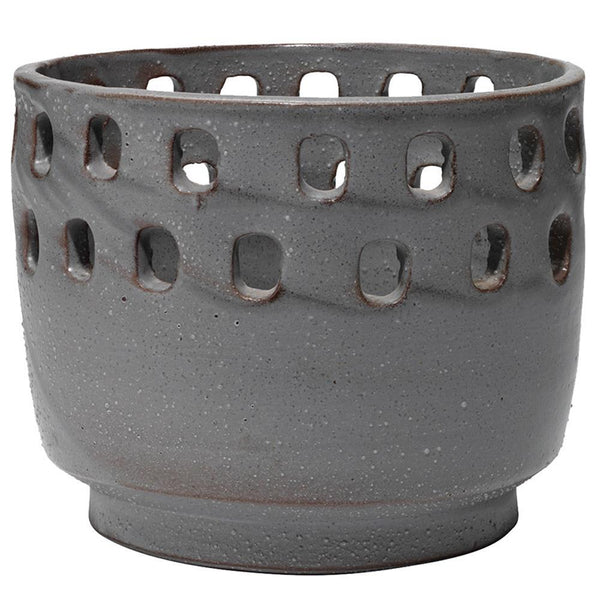 Jamie Young Large Perforated Pot in Gray Ceramic
