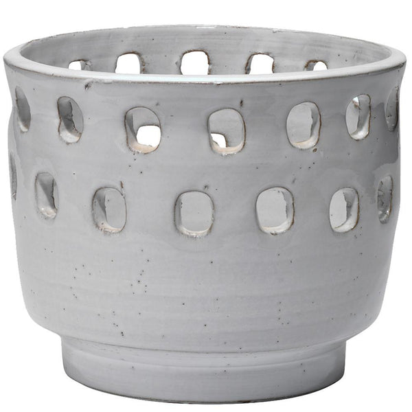 Jamie Young Large Perforated Pot in White Ceramic