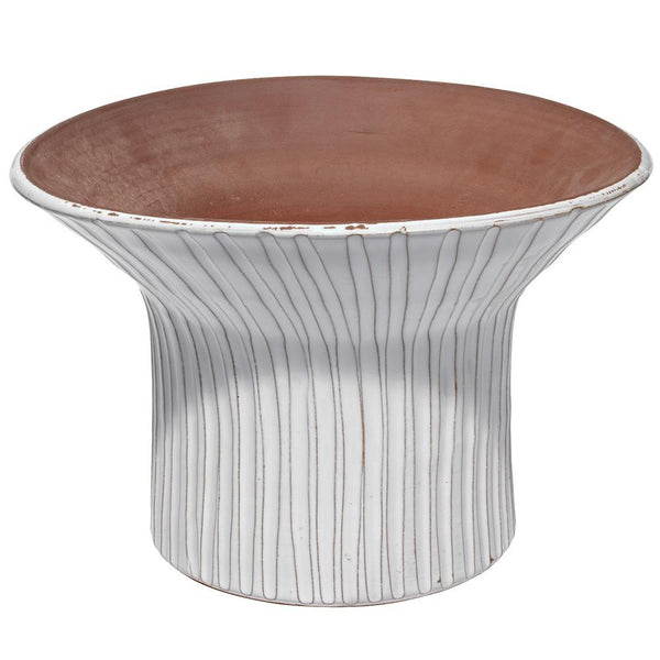 Jamie Young Short Podium Vessel in Cream Ceramic