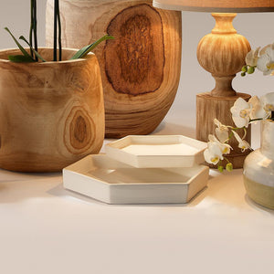 Jamie Young Large Porto Tray in White Ceramic