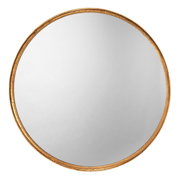 Jamie Young Refined Round Mirror in Gold Leaf Metal