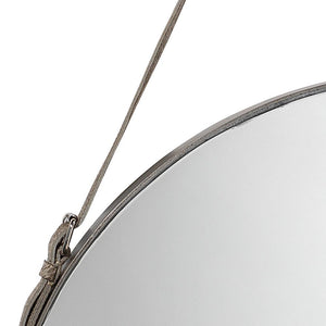 Jamie Young Large Round Mirror in Antique Silver and Gray Hide Strap