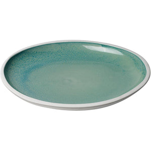 Jamie Young Santorini Large Low Rim Bowl in Ocean Ombre Reactive Glaze Ceramic