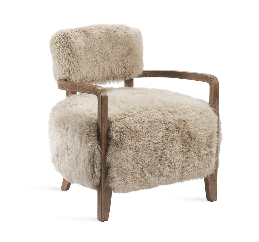 Interlude Home Royce Lounge Chair in Autumn Brown Finish - Morel Taupe Upholstery