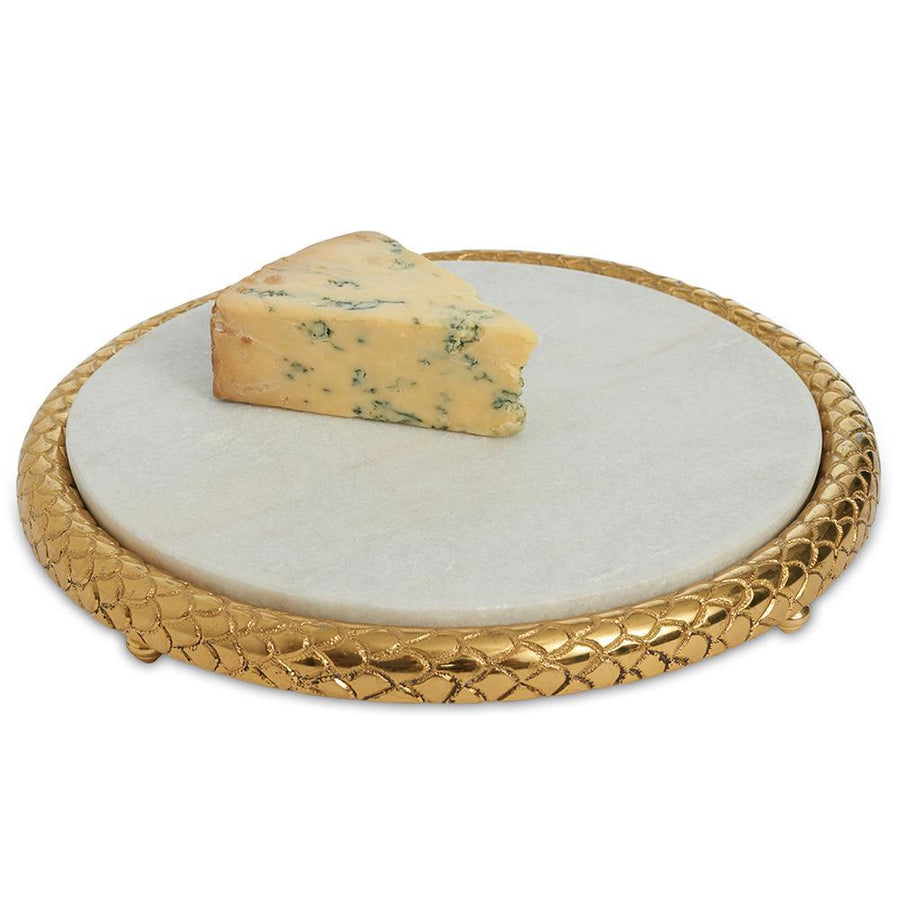 "Julia Knight Florentine 11"" Marble Cheese Tray in Gold"