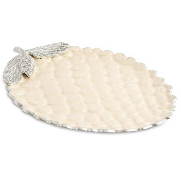 "Julia Knight Pine Cone 13"" Platter in Snow"