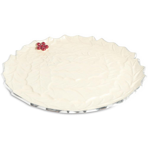 "Holly Sprig 13"" Round Platter in Snow"