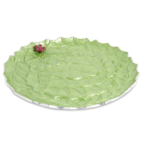 "Holly Sprig 13"" Round Platter in Mojito"