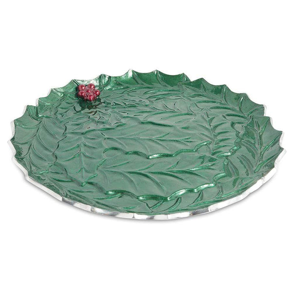 "Holly Sprig 13"" Round Platter in Emerald"