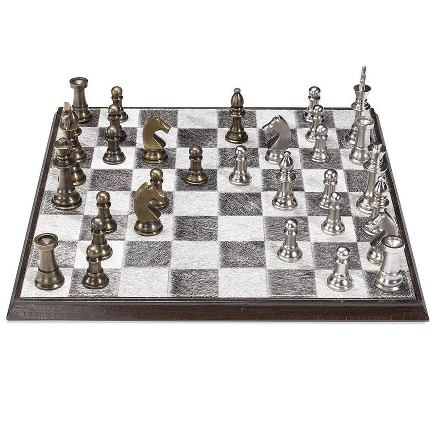 Interlude Home Ellis Walnut Brass Chess Set