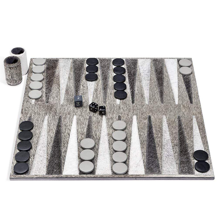 Interlude Home Hampton Charcoal Heather Backgammon Set