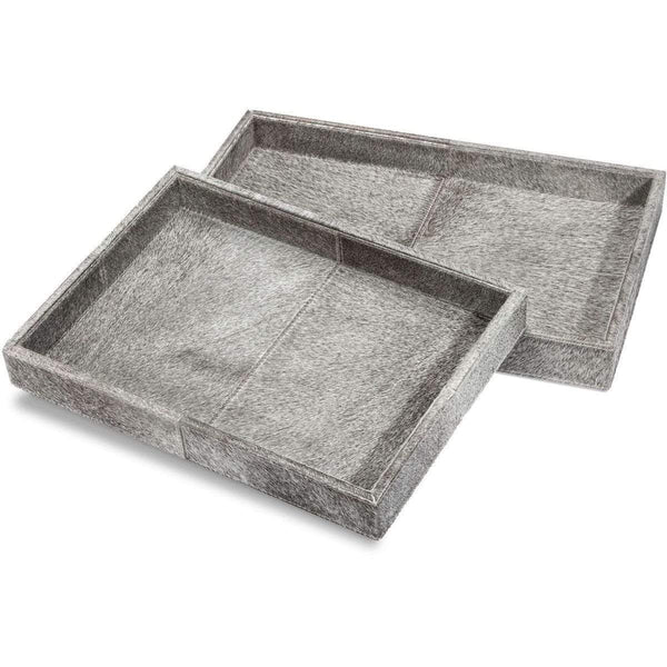 Interlude Home Nadine Set of 2 Rectangular Hide Trays - Natural Grey