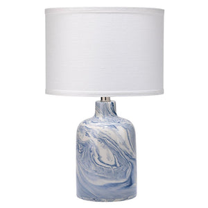 Jamie Young Atmosphere Table Lamp in Blue and White Ceramic Swirl