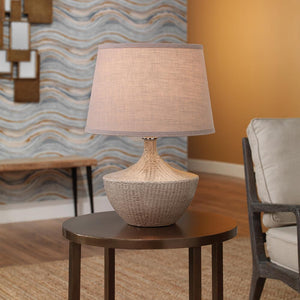Jamie Young Basketweave Table Lamp in Off White Ceramic